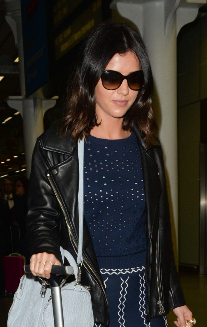 Lucy Mecklenburgh Arriving at St Pancras station in London