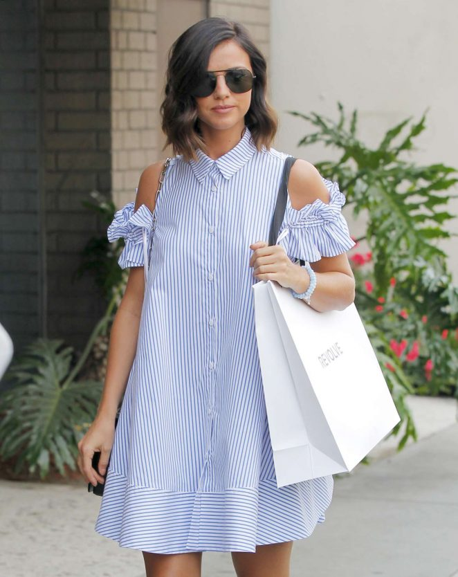 Lucy Mecklenburgh in a striped dress out shopping in West Hollywood