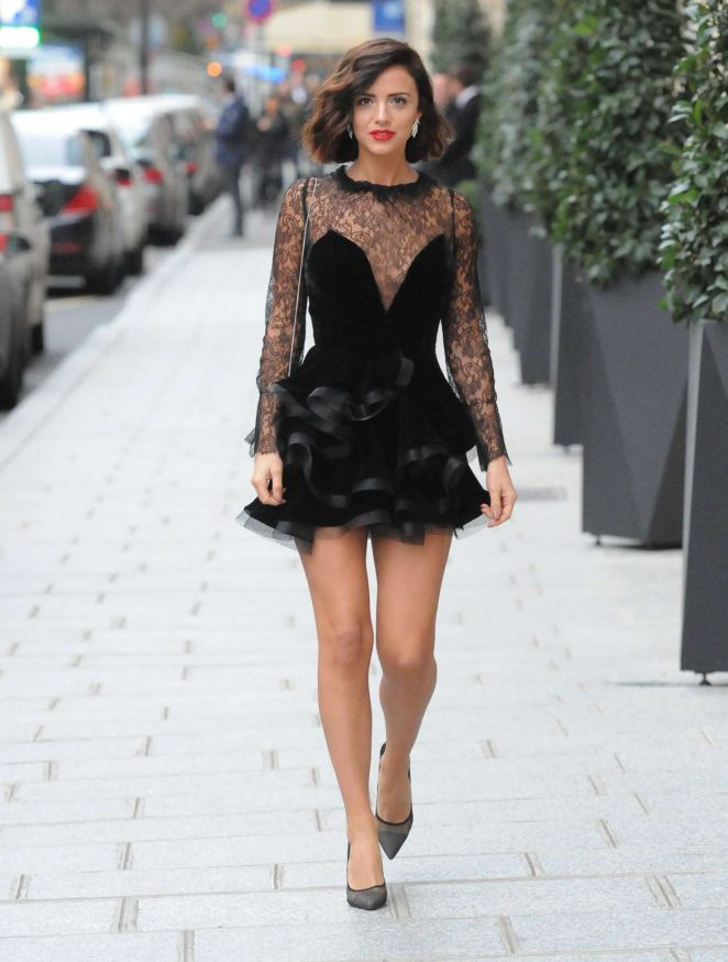 Lucy Mecklenburgh in Black Mini Dress out in Paris