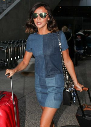 Lucy Mecklenburgh in denim mini dress at LAX airport in LA