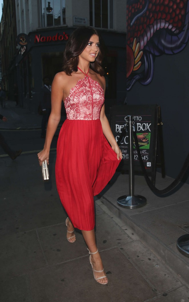 Lucy Mecklenburgh in Red Dress out in London