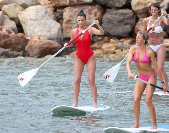 Lucy Mecklenburgh in Red Swimsuit Paddleboarding -15