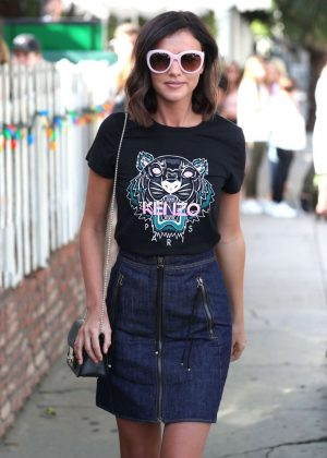 Lucy Mecklenburgh inJeans Skirt Leaves The Ivy in West Hollywood