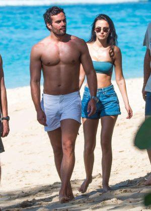 e9a18b164e4 Lucy Watson in Bikini Top and Shorts on the beach in Barbados | GotCeleb