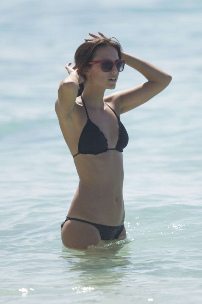 Lucy Watson in Black Bikini in Barbados
