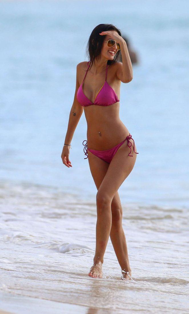 Lucy Watson in Pink Bikini in Barbados