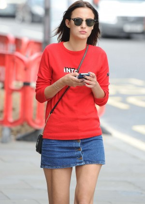 Lucy Watson in Shorts Skirt out in London