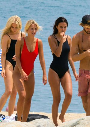 Lucy Watson Tiffany Watson and Nicola Hughe in Swimsuit on a photoshoot in Barcelona