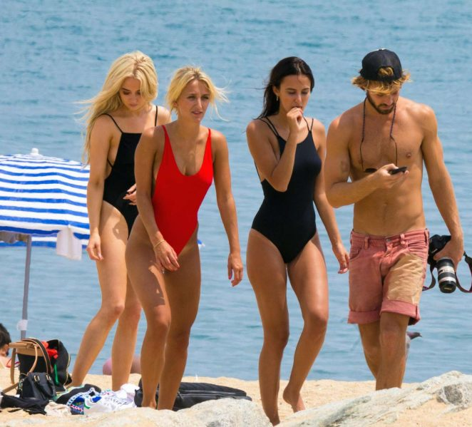 Lucy Watson Tiffany Watson and Nicola Hughe in Swimsuit on a photoshoot in Barcelona