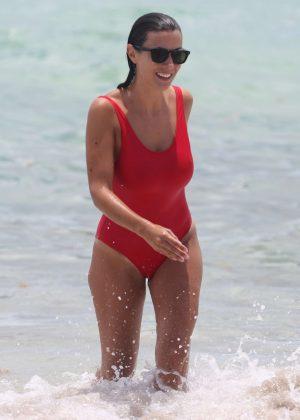 Ludivine Kadri Sagna in Red Swimsuit in Miami