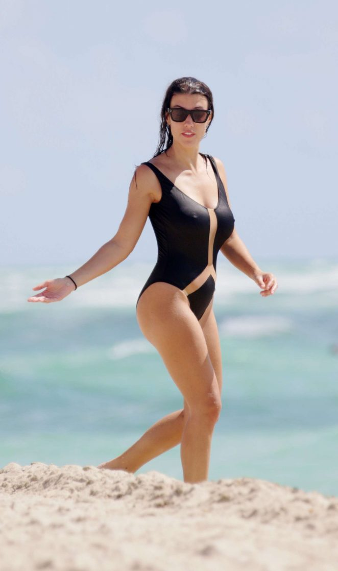 Ludivine Sagna in Black Swimsuit in Miami