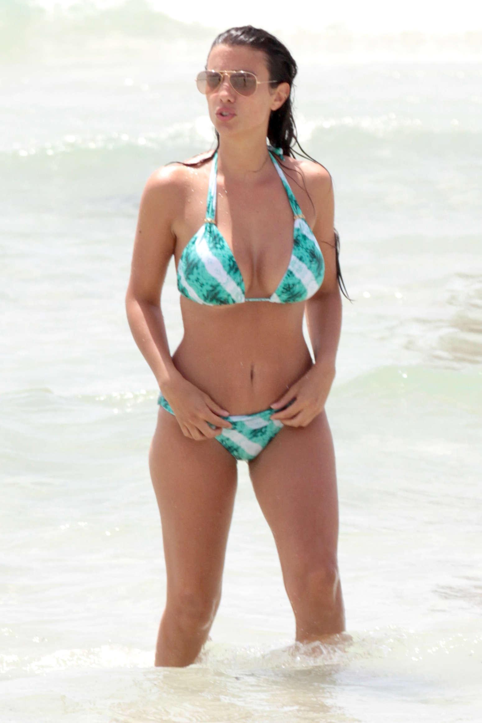 Ludivine Sagna - Wearing Green Bikini on Miami Beach