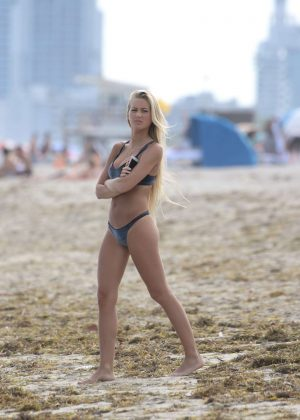 Ludmila Isabella in Black Bikini at the beach in Miami