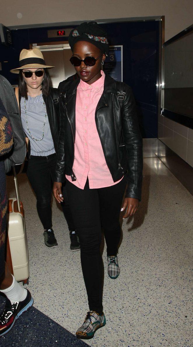 Lupita Nyong'o Arrives at LAX Airport in Los Angeles