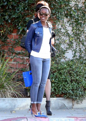 Lupita Nyong'o in Tight Jeans out fin West Hollywood