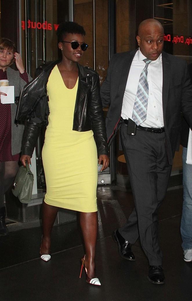 Lupita Nyongo - Leaving SiriusXM studios in New York City