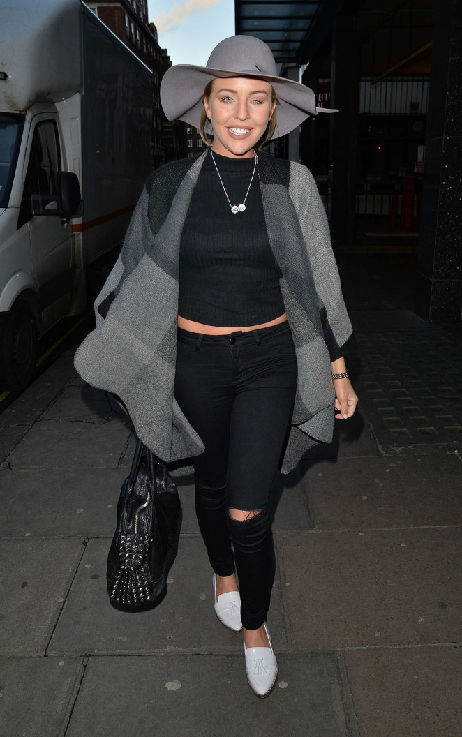 Lydia Bright in Ripped Jeans Attends a meeting in Mayfair