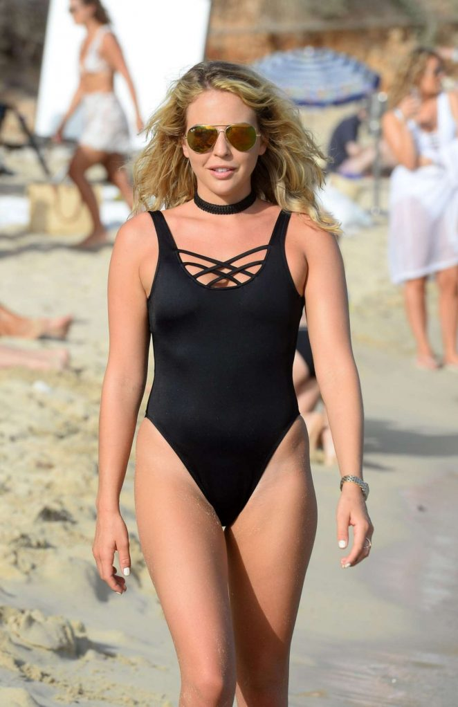 Lydia Bright in Swimsuit Filming 'The Only Way is Essex' on Magaluf Beach