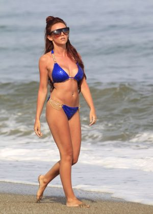 Lydia Lucy in Royal Blue Bikini on holiday in Marbella