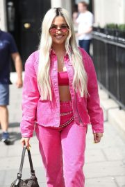 Mabel in Pink Outfit - Exits Kiss FM Studios in London