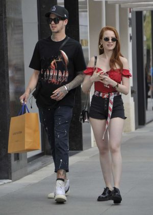 Madelaine Petsch and boyfriend Travis Mills - Shopping on Rodeo Drive in Beverly Hills
