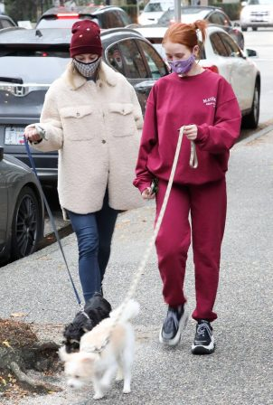 Madelaine Petsch and Lili Reinhart - Seen Walking their dogs in Vancouver
