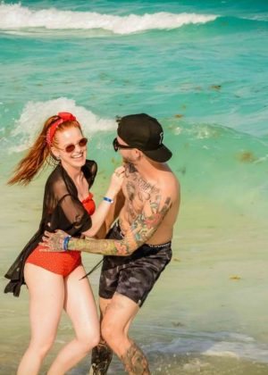 Madelaine Petsch and Travis Mills - Celebrating his birthday in Cancun