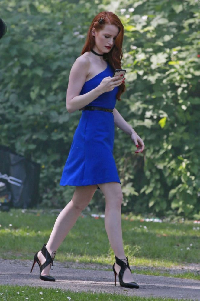 Madelaine Petsch in Blue Dress on 'Riverdale' set in Burnaby