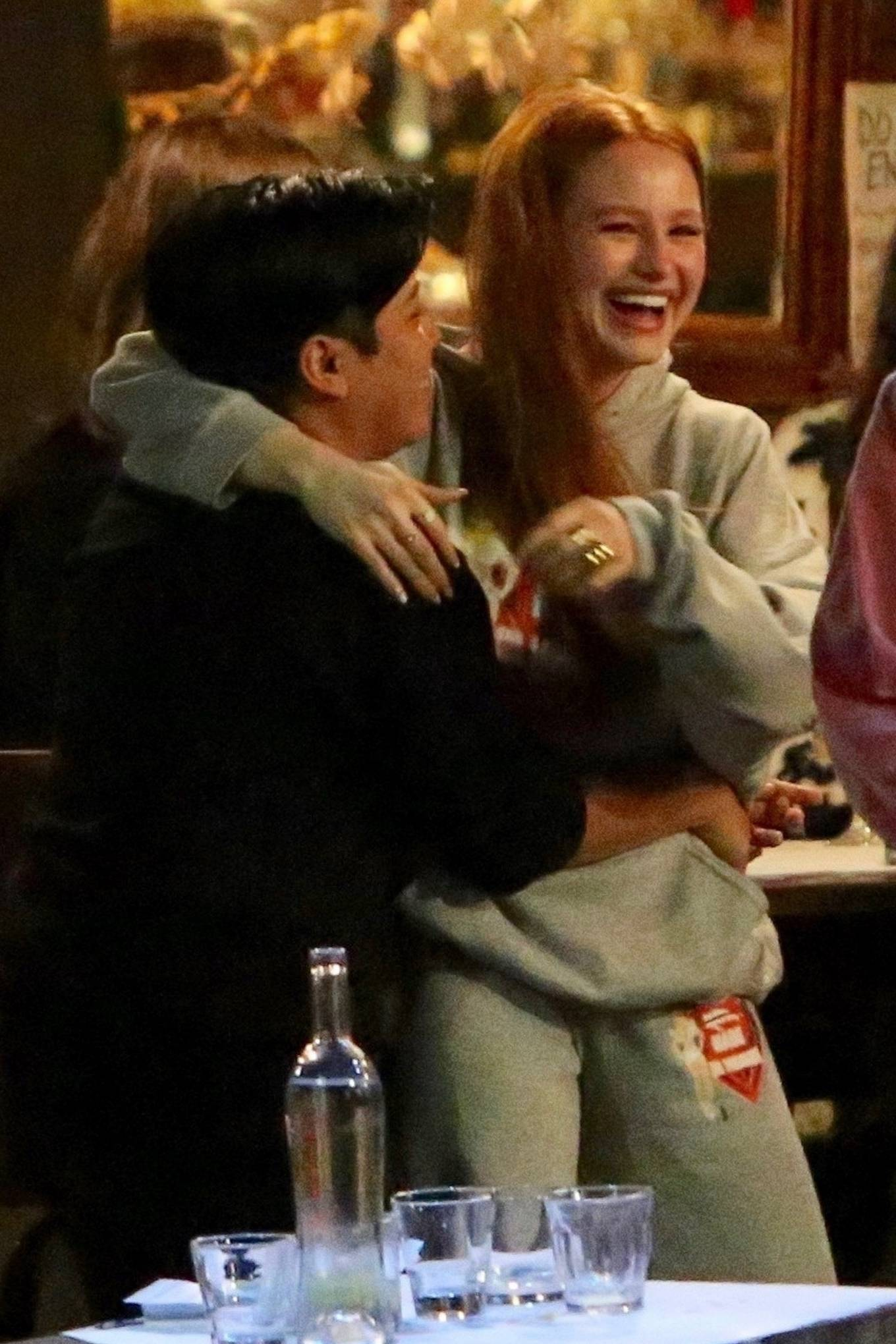 Madelaine Petsch 2020 : Madelaine Petsch is happy to see a friend outside a bar in Los Feliz-02