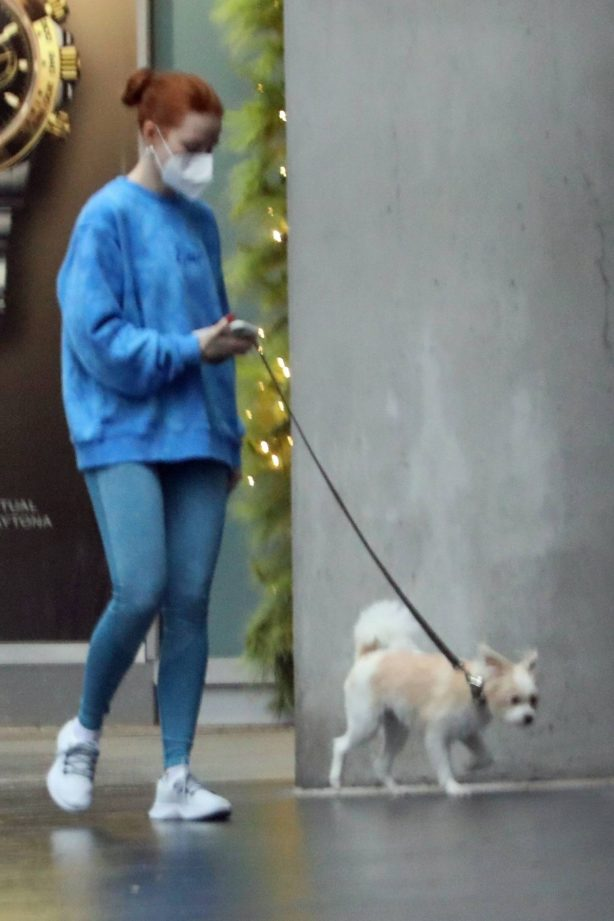 Madelaine Petsch - takes her dog for a walk in Vancouver