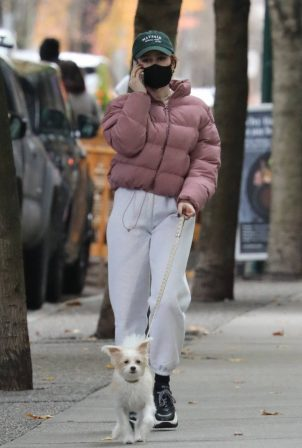 Madelaine Petsch - Walking her dog in Vancouver