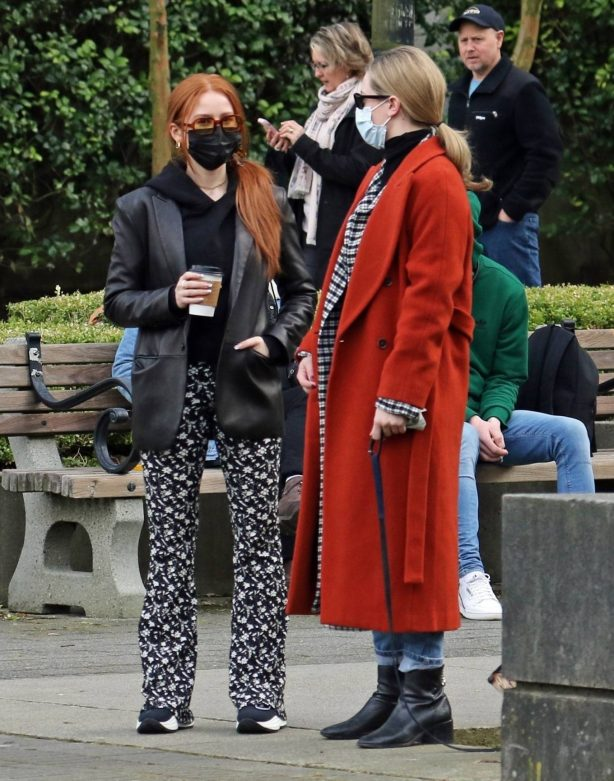 Madelaine Petsch - With boyfriend Miles and Lili Reinhart out for a walk in Vancouver