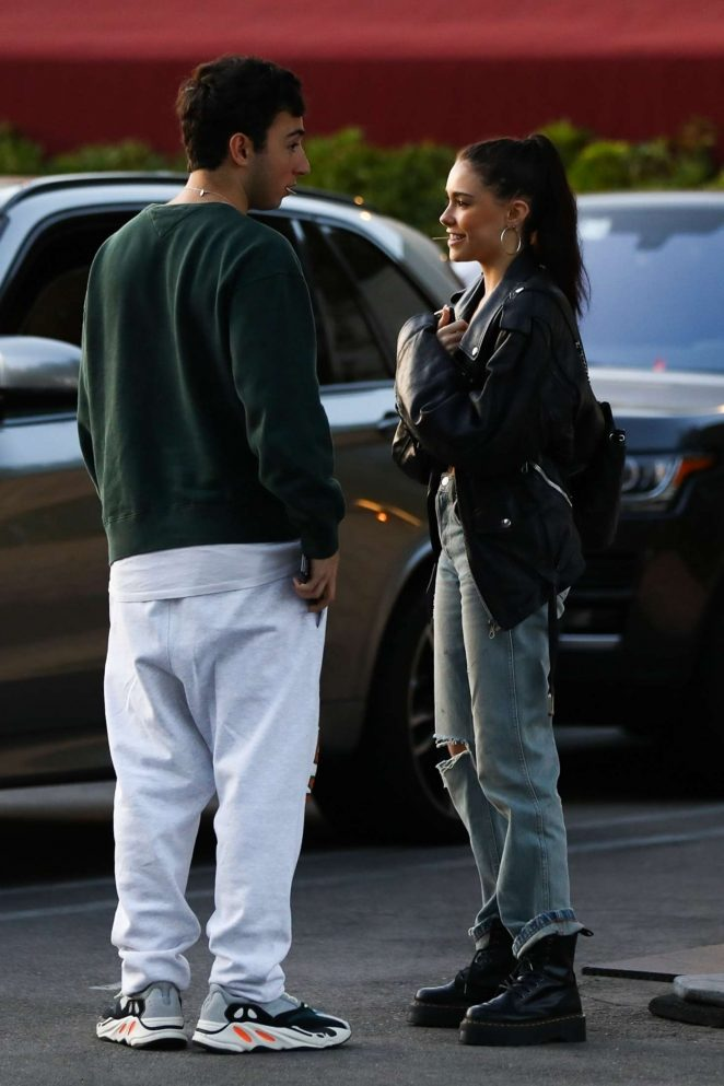 Madison Beer - Having dinner with her boyfriend Zack Bia in Los Angeles
