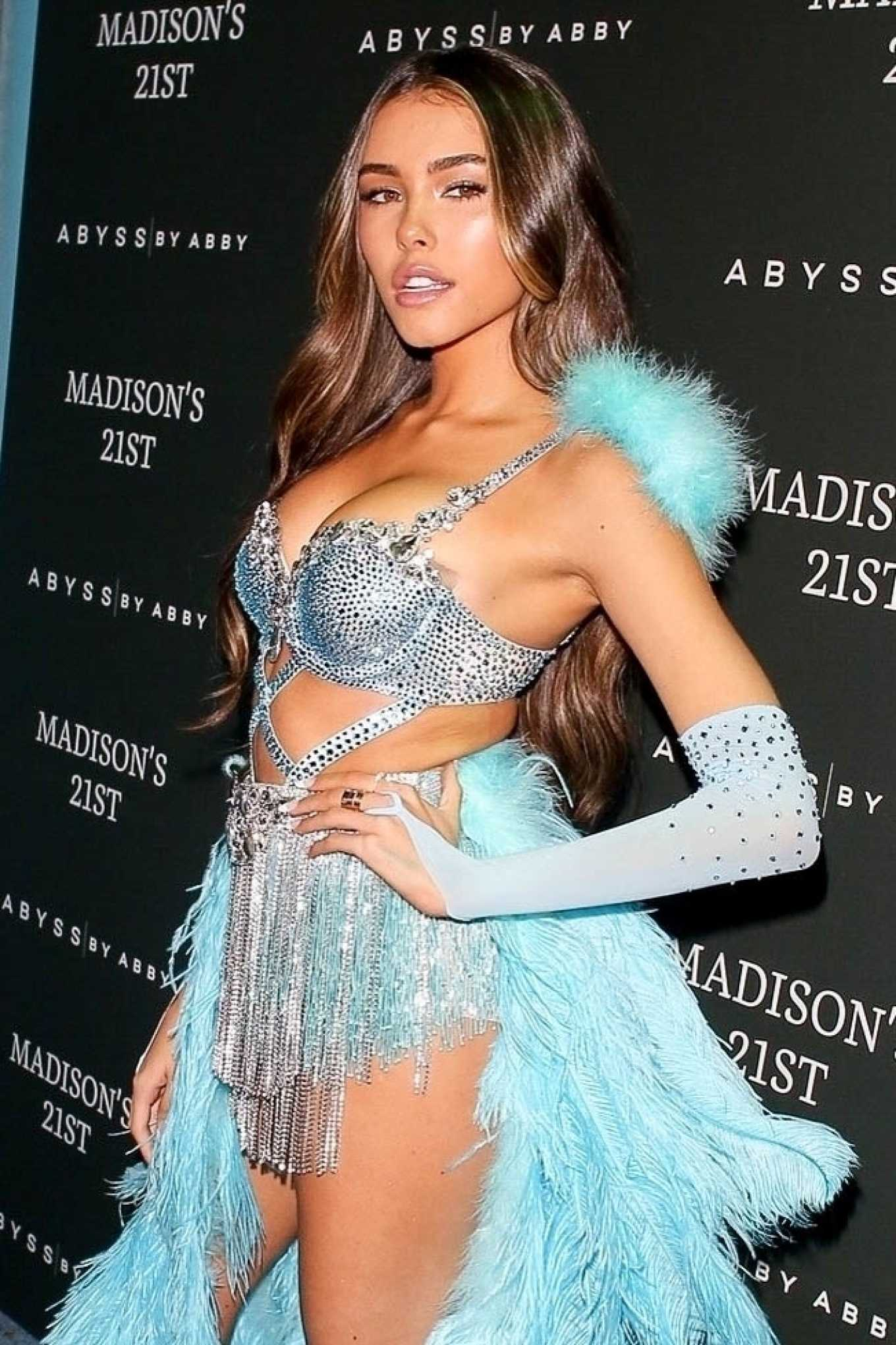 Madison Beer - In a blue feather ensemble at her 21st birthday party at Delilah in Hollywood