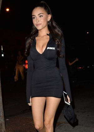 Madison Beer in Black Mini Dress - Night out in West Hollywood