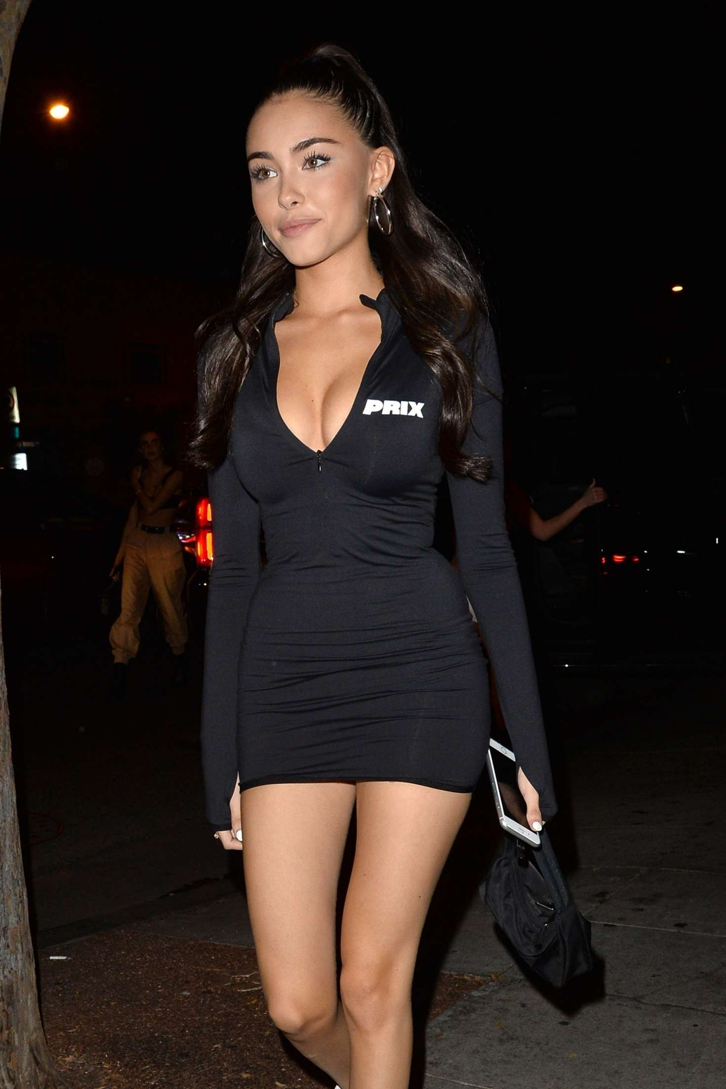 Madison Beer in Black Mini Dress – Night out in West Hollywood