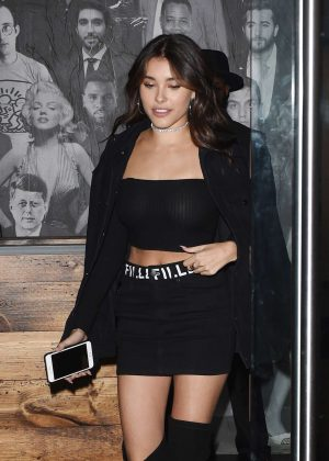 Madison Beer in Black Mini Skirt Leaving Catch LA in West Hollywood