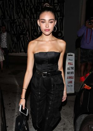 Madison Beer in Black Outfit - Leaves Craig's restaurant in West Hollywood