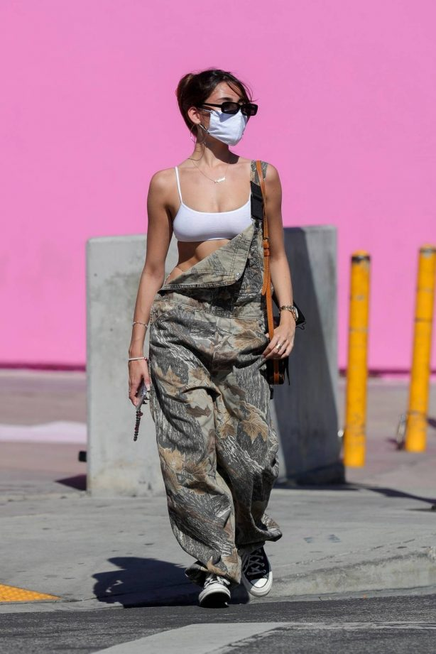 Madison Beer - In camouflage overalls lunch outing in West Hollywood