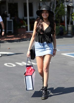 Madison Beer in denim mini skirt at Fred Segal in West Hollywood