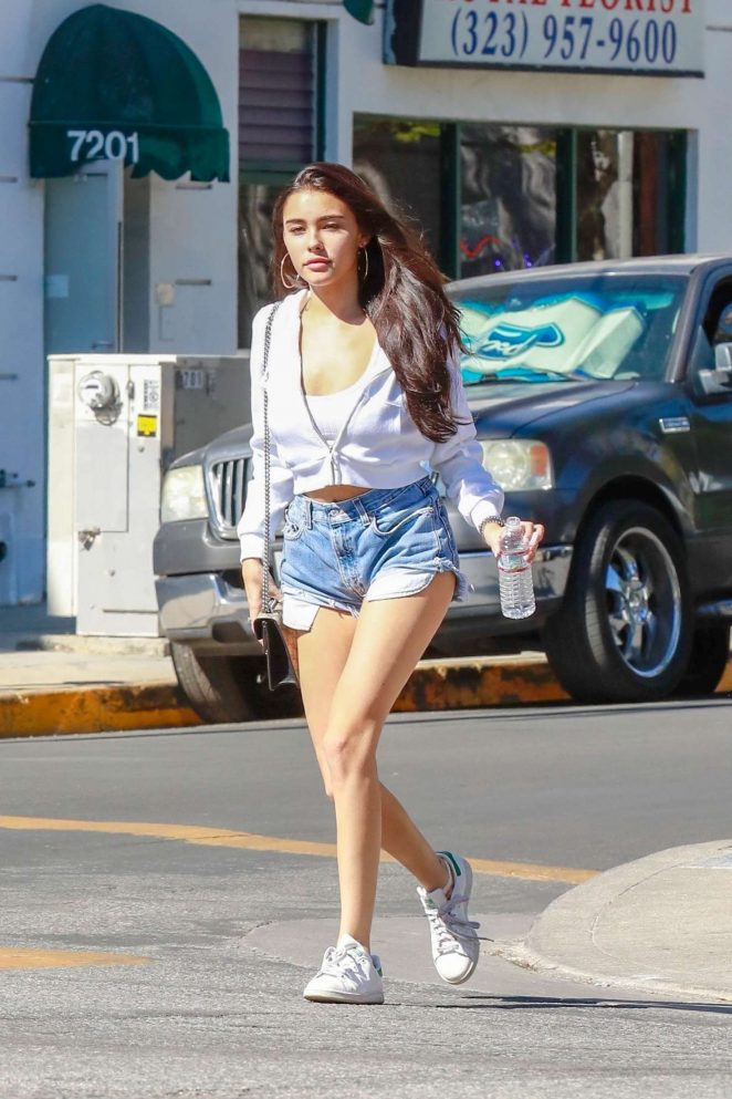 Madison Beer in Denim Shorts - Out in West Hollywood