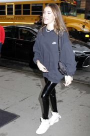 Madison Beer in Leather Pants - Arrives at her Hotel in New York City