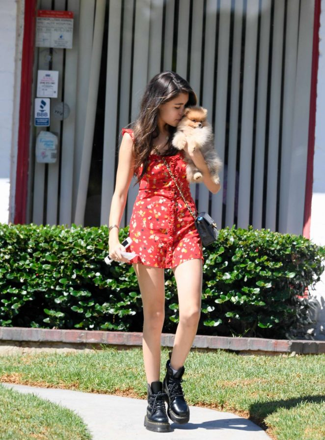 Madison Beer in Red Mini Dress – Out in Beverly Hills