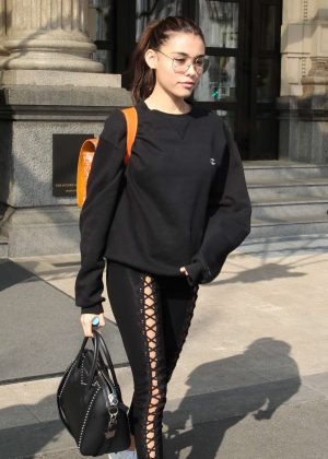 Madison Beer in Tights out in Milan
