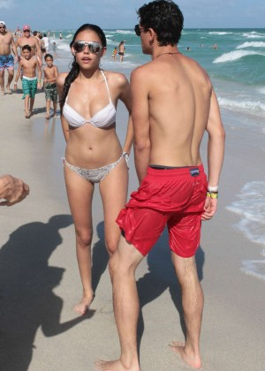 Madison Beer: In White Bikini at a Beach in Miami (adds)-40