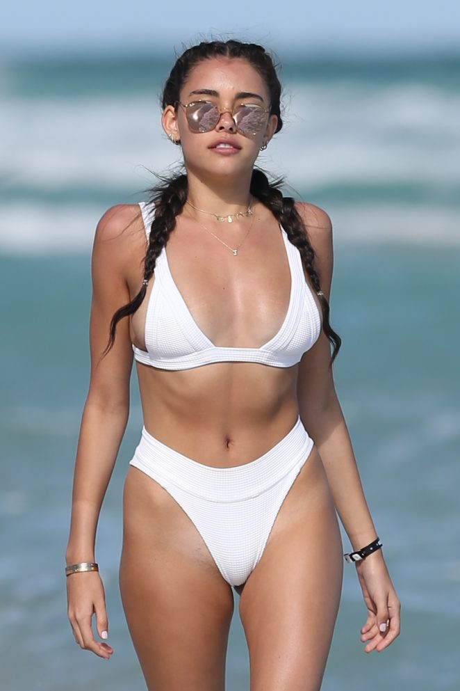 Madison Beer in White Bikini to The Beach in Miami