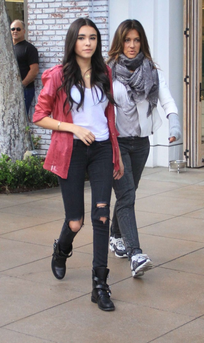 Madison Beer in Ripped Jeans at The Grove in West Hollywood