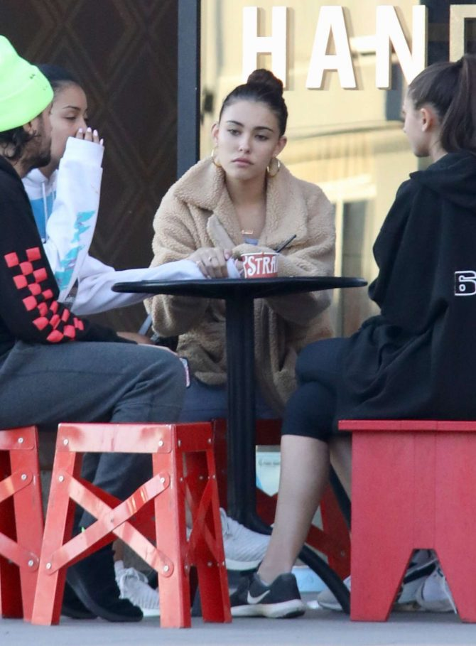 Madison Beer with friends while getting ice cream in LA