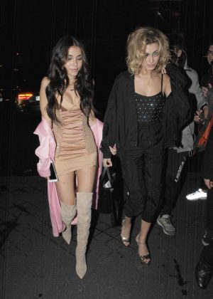Madison Beer with Hailey Baldwin night out in Paris