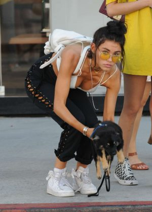 Madison Beer with her dog out in LA